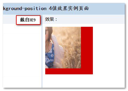 IE9下background-position 4值效果截图